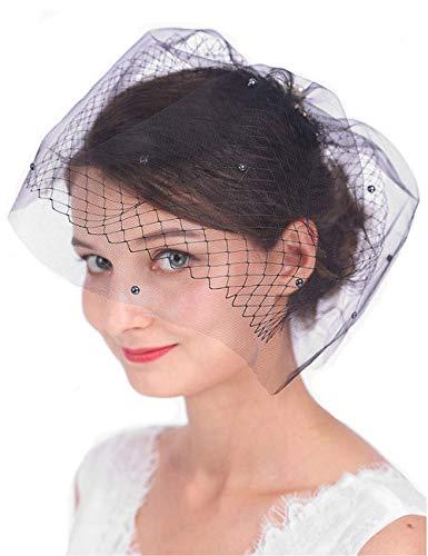 Anglacesmade Brautschleier mit Kristallperlenkamm, zweilagig, Vogelkäfig-Schleier für Hochzeit Gr....