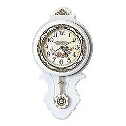 ufengke European Vintage Pendulum Wall Clock Rustic Floral Long Quartz Clocks for Living Room Lounge 22 12