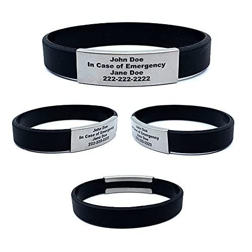Waterproof Performance Black Skinny Sport ID Bracelet Hypo-allergenic Silicone with Free Engraving (Medium 7 3/8')