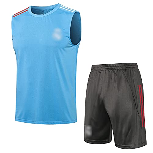 HQJ 21-22 Réal MǎDRID Traje de Entrenamiento de fútbol Traje de Verano Capacitación de Traje de Fitness Traje de Aptitud Transpirable y Absorbente de Sudor (Camiseta + p Blue-XXL
