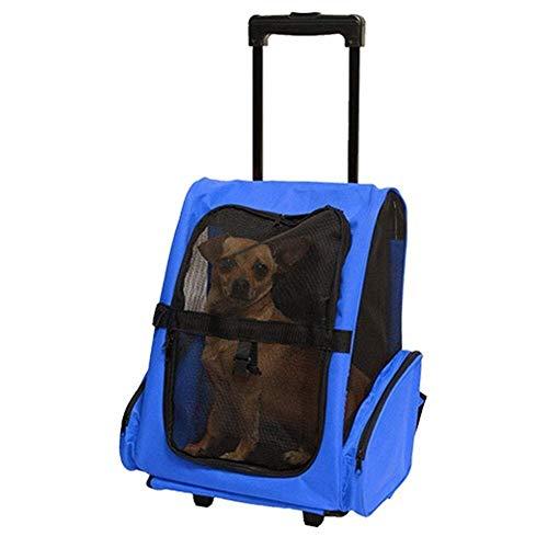 Mochila de viaje para mascotas, con carrito y asa telescópica, portátil, para equipaje de ruedas