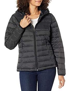 Amazon Essentials Women s Lightweight Long-Sleeve Full-Zip Water-Resistant Packable Hooded Puffer Jacket Black Medium