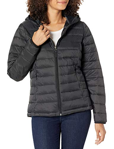Amazon Essentials Women's Lightweight Long-Sleeve Full-Zip Water-Resistant Packable Hooded Puffer Jacket, Black, X-Large