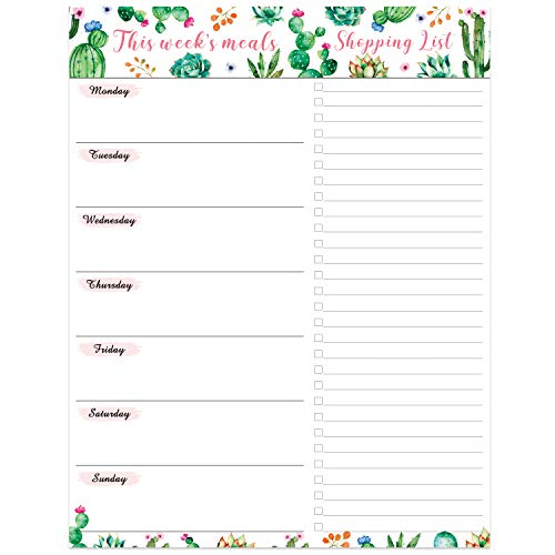 "Planificador de comidas semanal con lista de compras Bloc de notas magnético - Bloc de notas magnético sin fecha de 7""x 9"" con lista de compras desprendible"