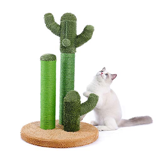 PAWZ Road Cactus Scratching Post for cats, Sisal Cat Scratching post with ball and a bottom like desert (H: 68.5cm 27 ) Brown L