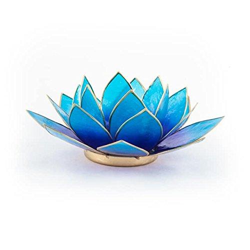 Teelichthalter Kerzenhalter Lotus Blume Capiz Violett - Blau 13.5cm