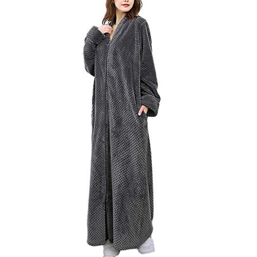 Crystallly Koraal Fleece Badjassen Voor Dames Badjassen Slaapmode Lange Rits Nachtkleding Eenvoudige Stijl Robe Thuis Spa Nacht Kleding Thuis Mode Comfortabele pyjama