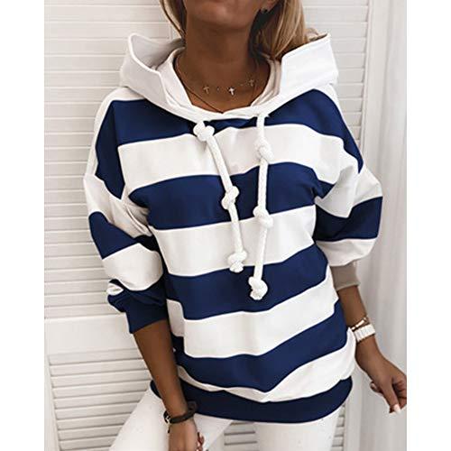 MIAOJIE Women Sweatshirt Hoodie Striped Color Block Long Sleeve Casual Hooded Jackets Pullover Long Tops with Drawstring,dark blue,S