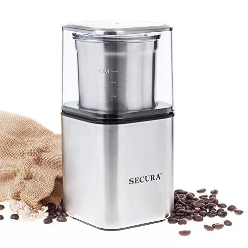 Secura Automatic Coffee Grinder and Spice Grinder with Stainless Steel Blades Removable Bowl, 2.5 Ounce , Silver