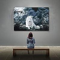ホワイトウルフスターリーナイトキャンバス絵画ポスタープリントアートウォール写真リビングルームのアート家の装飾絵画-60x80cmフレームなし
