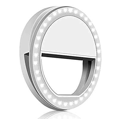 Whellen Selfie Ring Light with 36 LED for Phone/Tablet/iPad Camera [UL Certified] Portable Clip-on Fill Round Shape Light-White from Whellen
