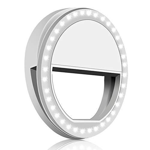Selfie-Ring-Licht mit 36 LED-Birnen, Blitz-Lampen-Klipp-Ring-Licht-Fülle-Beleuchtung tragbar für Telefon/Tablette/iPad/Laptop-Kamera - Weiß