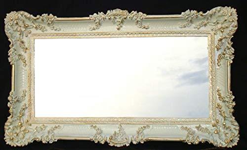 Barok, spiegel, gangspiegel, kappersspiegel, wandspiegel wit goud antiek 97x57cm