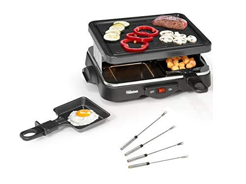 Raclette Barbecue de fête avec fourchettes Teppan pour 4 personnes, petit barbecue de table carré, 500 W