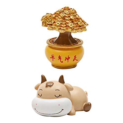 TOYANDONA 2 Pezzi Miniatura Zodiaco Bue Buona Fortuna Albero dei Soldi Bonsai Ornamento Fata Giardino Mini Figura Animale per Natale Capodanno Decorazione Artigianale Fai da Te