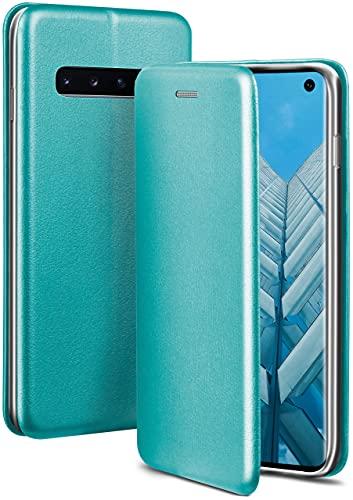 ONEFLOW Handyhülle kompatibel mit Samsung Galaxy S10 - Hülle klappbar, Handytasche mit Kartenfach, Flip Hülle Call Funktion, Leder Optik Klapphülle mit Silikon Bumper, Mint Blau