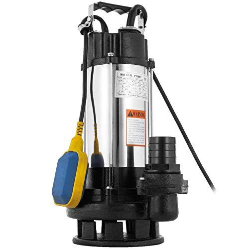 VEVOR Schmutzwasserpumpe 2,2 kW, Schmutzwasserpumpe Tauchpumpe 800 LPM, Tauchdruckpumpe Max. Hub 26 m, Abwasserpumpe mit tragbarem Griff und Schwimmerschalter, für Ackerlandbewässerung, Autowäsche