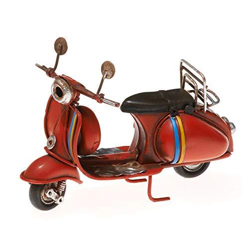 Pamer-Toys Modelo de moto de chapa – estilo vintage retro retro – color rojo