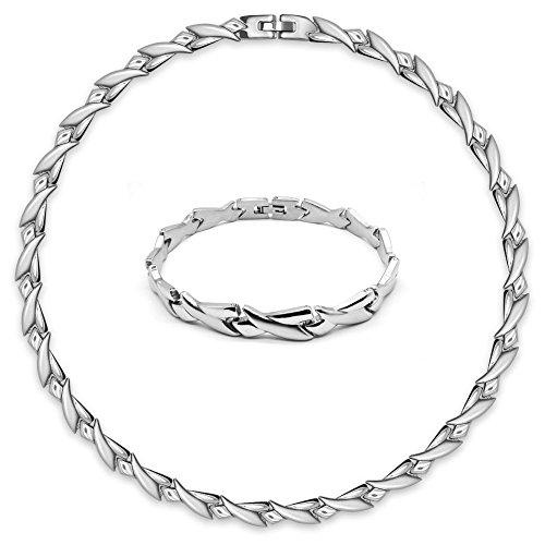 SoulCats® traumhaftes Set Edelstahl Collier und Armband Silber matt glänzend