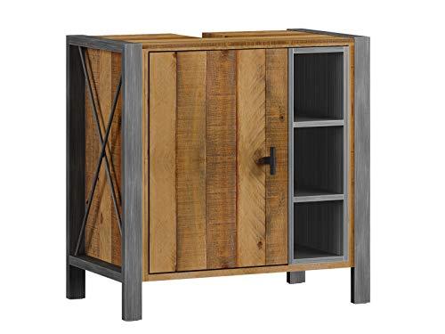 Woodkings® Bad Waschbeckenunterschrank Detroit Holz-Metall Mix recycelte Pinie, Unterschrank, Badmöbel, Industrial Stil