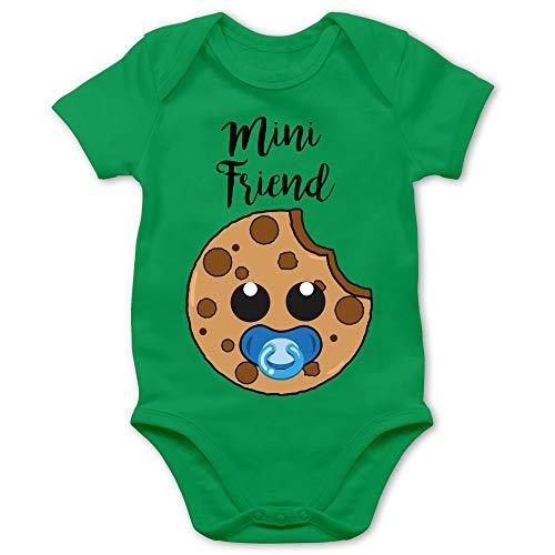 Shirtracer Partner-Look Familie Baby - Mini Friend Blau - 1/3 Monate - Grün - Statement - BZ10 - Baby Body Kurzarm für Jungen und Mädchen