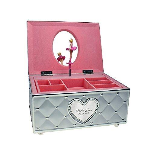 Gravado versilbertes Schmuckkästchen mit Spieluhr, Tanzender Ballerina und graviertem Herz, Personalisiert mit Namen und Datum, Dekoartikel für Mädchen