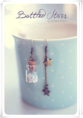 Custom Glitzer Sterne Farbe. Glas Flasche Ohrringe. Glas Flakon Ohrringe. Star Ohrringe. Glitzer Sterne Ohrringe