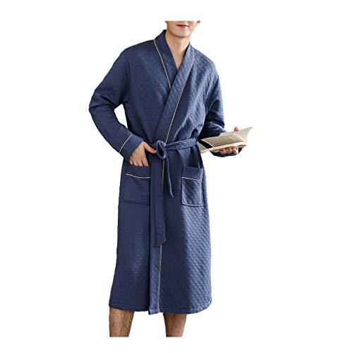 WXIANG Bademäntel Herren Roben Baumwolle, Ganzkörperansicht Robe, Ultra Whirlpools Sleepwear Bademantel Kimono Hotel Schal Kragen Plüsch Und Warm Nachtwäsche (Color : Blue2, Größe : Large)
