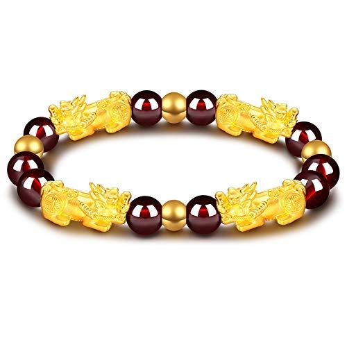Feng Shui Amulet Bracelet The Best Prosperity 8mm Red Garnet Bead Bracelet with 4 Gold Plated Pi Xiu/Pi Yao Lucky Wealthy Brecelet