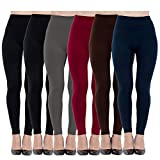 6 Pack Women's Fleece Lined Leggings Soft High Waist Slimming Winter Warm Leggings