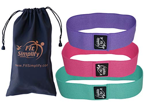 Fit Simplify Non Slip Fabric Resistance Hip Bands, Set of 3