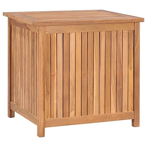 vidaXL Teak Massiv Gartenbox Aufbewahrungsbox Auflagenbox Kissenbox Gartentruhe Auflagentruhe Truhe Holztruhe Truhenbank Bank 60x50x58cm