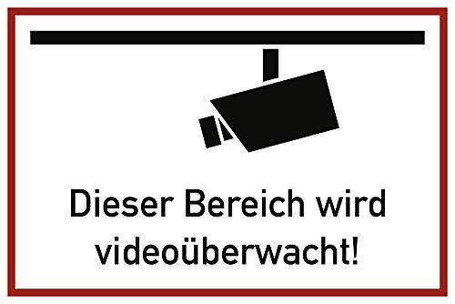 Aufkleber Dieser Bereich wird videoüberwacht Folie selbstklebend 20x30cm (Videoüberwachung, Überwachungskamera) praxisbewährt, wetterfest