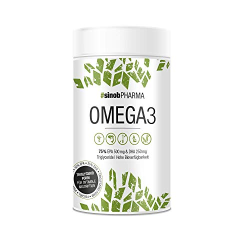 sinob Omega 3 Fischöl Kapseln Hochdosiert mit 1000 mg pro Kapsel mit den Fettsäuren EPA 500 mg & DHA 250 mg in Triglycerid-Form Laborgeprüfte Herstellung in Deutschland. 1 x 120 Omega 3 Kapseln