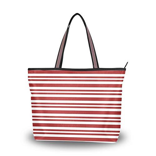 LORONA bolsa de mano de lona con rayas de bastón de caramelo para mujer, bolsa de mano de gran capacidad