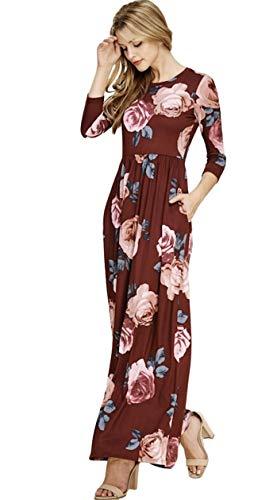 Reborn J Floral Maxi Dress with Pockets, Long Sleeve (Large, Wine FL83)