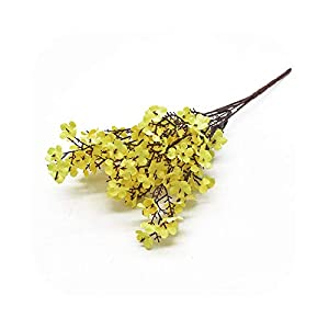 #N/D Pink Silk Gypsophila Artificial Flowers Small Bunches 5 Forks 30CM Living Room Decoration Fake Plants Vase for Home Wedding-Yellow