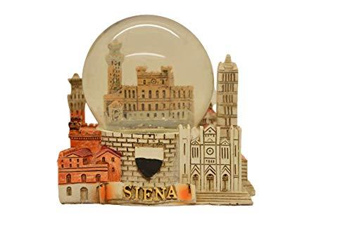 Palla di neve souvenir di Siena, con base in resina con monumenti della città, souvenir Italia (sfera 45mm)
