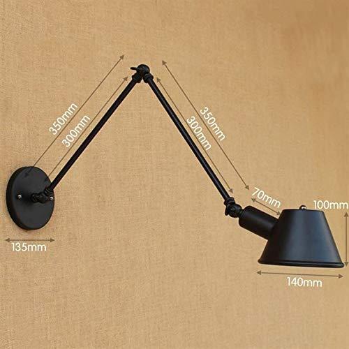 RAQ wandlamp, retro, verstelbaar, lange arm, ijzer, vintage, wandlamp, wandlamp, zwart, met lamp 40 W voor slaapkamer LED Bulb D