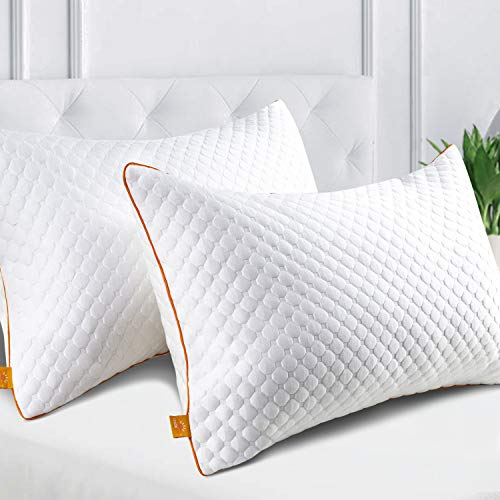 Maxzzz Pack de 2 Almohadas 42x70cm para Dormir Almohadas Fibra de Bambú Hipoalergénicas y Antiácaros Almohada de Hotel Dormoir de Lado Boca Abajo y Boca Arriba con Funda Lavable