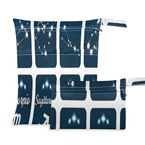 WYYWCY Los Doce Signos del zodíaco en la constelación Bolsa húmeda para pañales de Tela Dos Bolsillos 11.8 × 14.2 Pulgadas y 5.9 × 8.7 Pulgadas Bolsa húmeda para Traje de baño Organizador impe