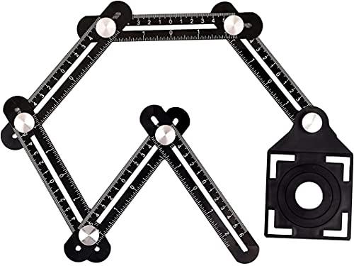 Angleizer - Regla de ángulo de 6 caras con regla de apertura de posicionamiento de tile, para constructores, artesanos, carpinteros, diseñadores