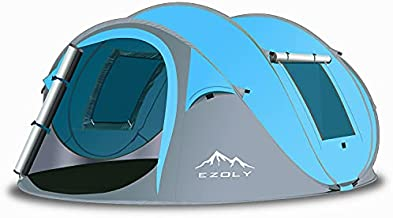 EZOLY Pop Up Tent, 2 Seconds Setup 4 Persons Instant Automatic Camping Tent, Waterproof, Anti-UV Family Tents for Camping, Car Traveling, Beach Tent