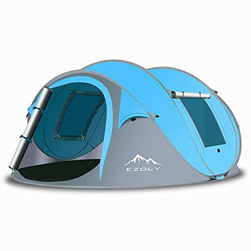 EZOLY Pop Up Zelt, Automatisches Zelte für Outdoor Camping Wurfzelt für 4 Personen Wasserdichtes Winddichtes, Anti-UV-Campingzelt für Familien