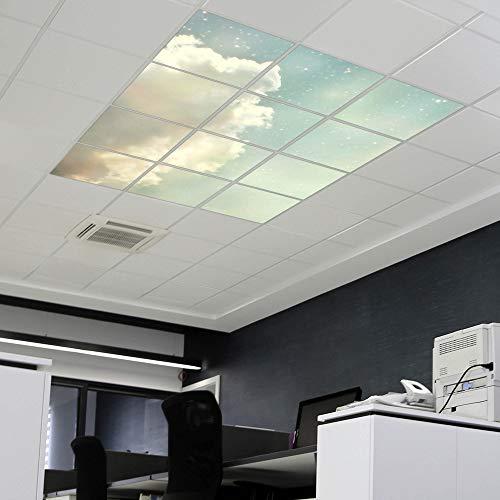 banjado LED Lichtdecke mit Acryl-Bild   Lichtdeckenplatte aus Acryl 180x120cm   Deckenpaneel mit Motiv Himmel Vintage   Panel für Deckenleuchte Rasterdecke