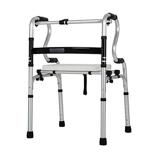 DNSJB Opvouwbare Walker Vierwielige RVS Walker zonder Wiel Ouderen helpen om op te staan en lopen (met Seat Plate)