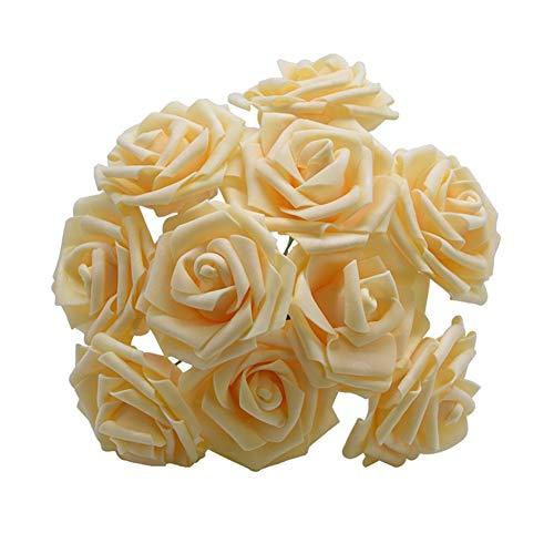 LANTIANXIAN Neue Bunte künstliche PE-Schaum-Rosen-Blumen-Braut-Bouquet Startseite Hochzeitsdeko Scrapbooking DIY Supplies (Farbe : Deep Champagne, Größe : F015)