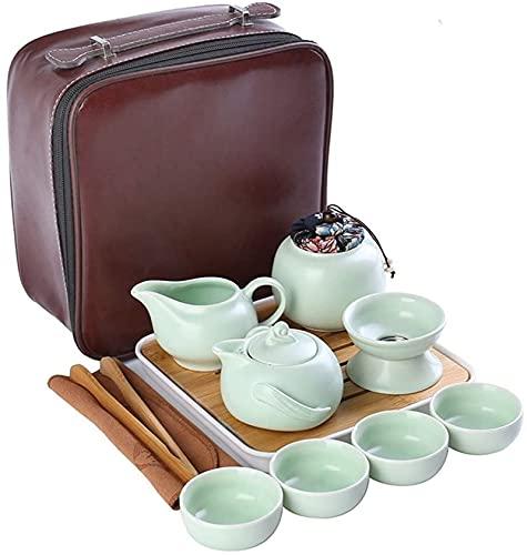 Mini Conjunto de taza de té chino con la tetera de porcelana de cerámica de viaje de la bandeja, bolso de regalo del conjunto de té portátil todo en uno para el hotel de negocios de picnic al aire lib