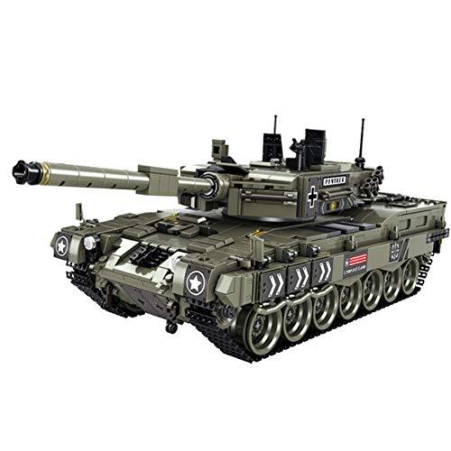 Modelo de tanque de bloque de construcción, WW2 alemán Leopard 2A4 tanque militar conjunto de construcción, 1747 bloques de construcción de abrazadera compatible con tecnología Lego (Einfaches Paket)