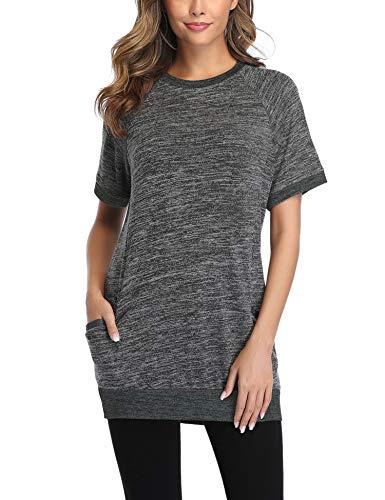 Sykooria Donna Camicetta Manica Corta Lunga Elegante con Girocollo Sciolto, Casual Bluse T-Shirt Lungo
